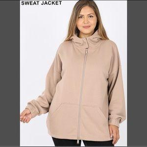 Zenana Outfitters Hooded Double Zip Sweat Jacket